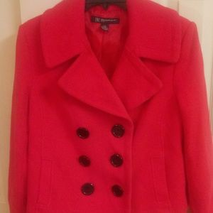 INC Red Crop Double Breasted Peacoat
